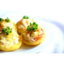 Картофель, начиненный ветчиной, грибами и сыром